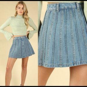 New! Denim jean pleated Mini Skirt